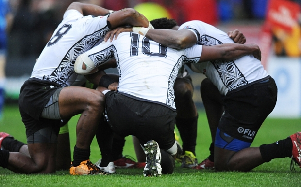 Mandatory Credit: Photo by David Gibson/REX Shutterstock (4764000an)  Fiji players celebrate victory at the final whistle.  Fiji v New Zealand, Cup Final, IRB Glasgow Sevens, Scotstoun stadium, Glasgow, Scotland, United Kingdom, Sunday 10 May 2015  Please credit: Fotosport/David Gibson  Glasgow Sevens, Rugby Union, Scotland, Britain - 10 May 2015