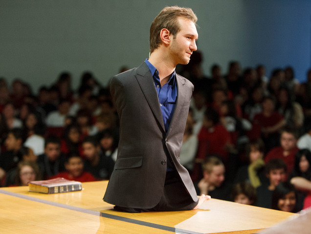 Trent Nelson  |  The Salt Lake Tribune Motivational speaker Nick Vujicic speaks to students at Bryant Middle School and beyond about the dangers of bullying. The assembly was simulcast and streamed to some schools across Utah Thursday March 7, 2013 in Salt Lake City